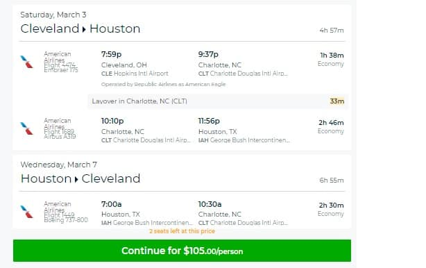 Cleveland to Houston or Vice Versa $105 RT Airfare on American Airlnies (travel March-May)
