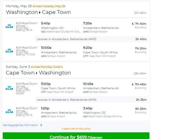 Washington DC to Cape Town South Africa $660 RT Airfare on KLM Delta or Air France (Limited travel May)