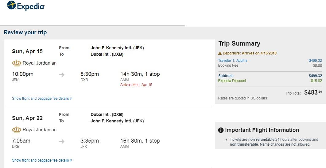 New York to Dubai UAE $484 RT Airfare on Royal Jordanian Airlines (travel April)