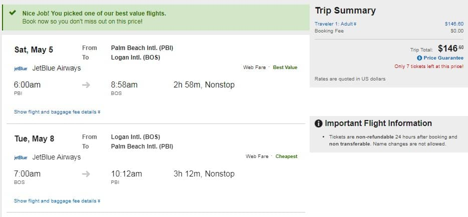 Boston to West Palm Beach FL $147 RT Nonstop on JetBlue (limited travel April-June)