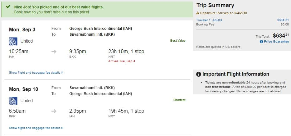 Houston to Bangkok Thailand $635 RT Airfare on United and ANA (travel Aug-Oct)