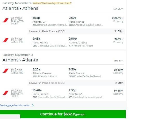 Atlanta to Athens Greece $632 RT on Air France (travel Oct-Dec)