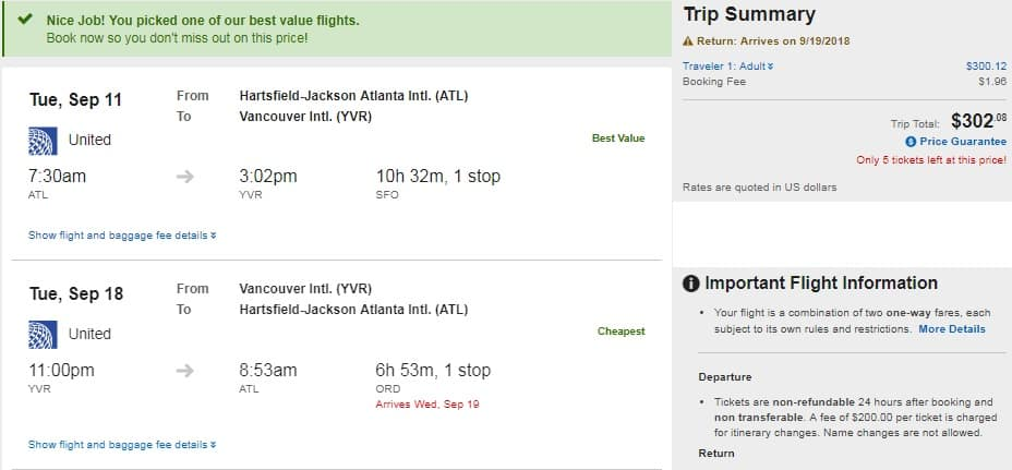 Atlanta to Vancouver Canada $303 RT on United or American (travel Sept-Nov)