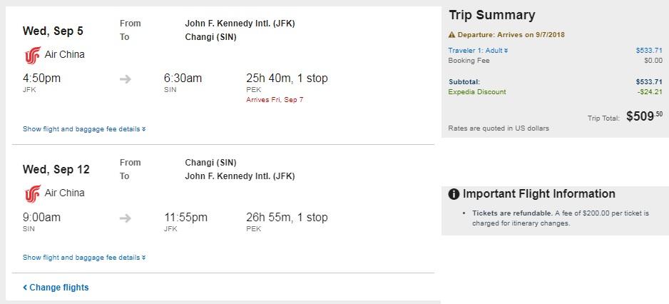 New York to Singapore $510-$534 RT Airfare (travel Sept-Oct)
