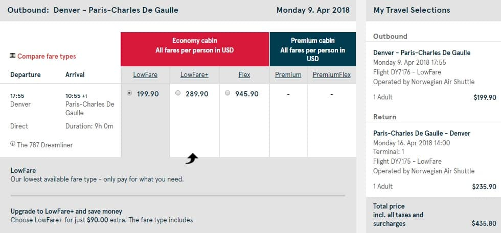 Denver to Paris France $436 RT Nonstop on Norwegian Air (limited travel April-May)