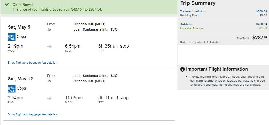 Orlando FL to Costa Rica $288 RT on COPA Airlines (travel April-June)