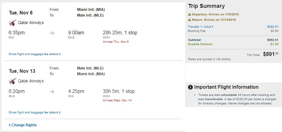 Miami to Maldives $892 RT Airfare on Qatar Airways (travel Oct-Nov)