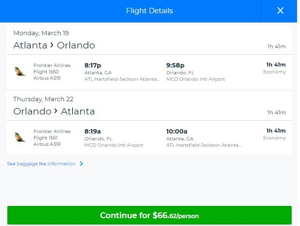 Atlanta to Orlando or Vice Versa $67 RT on Frontier Airlines