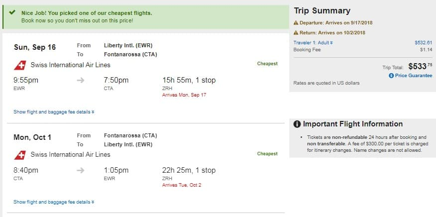 New York / New Jersey to Catania (Sicily) or Cagliari (Sardinia) Italy on Swiss Air (very limited Sept-Oct Dates) $534