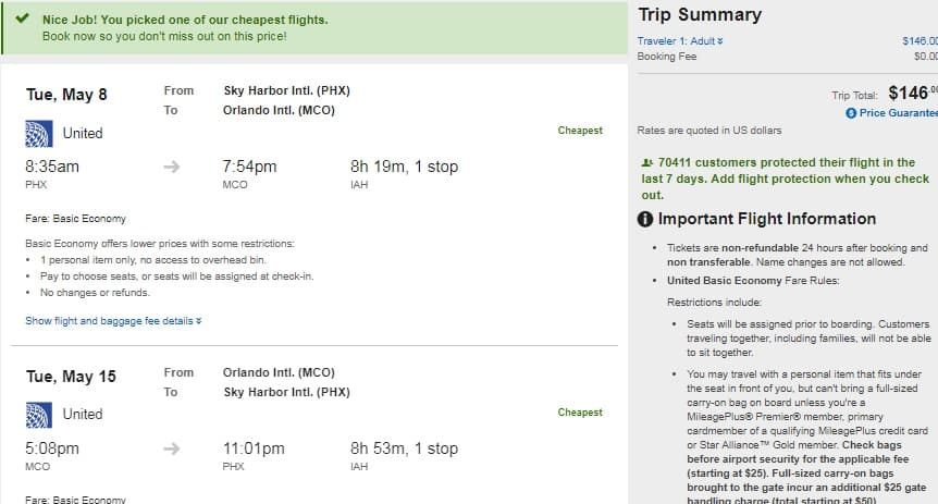Phoenix to Orlando or vice Versa $146 RT on United Airlines (BE) (few April-May Dates)