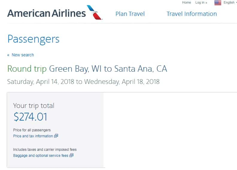 Green Bay WI to Los Angeles or Santa Ana (Close to Disneyland) $274 RT Airfares (Travel April-May)