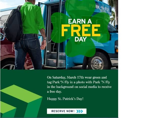 Park 'N Fly St Patrick's Day Promo - Wear Green, Snap & Tag Pic, Get Free Day - March 17 Only