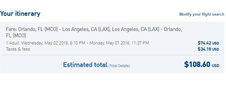 [EXPIRED] Orlando to Los Angeles or Vice Versa $109 RT Nonstop on JetBlue (a few dates in May)
