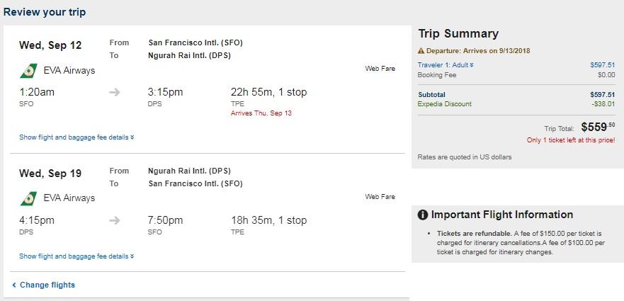 San Francisco to Bali Indonesia $560 RT Airfare on EVA Airways (travel Aug-Jan 2019)