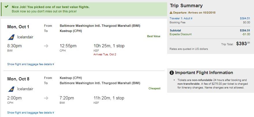 Washington DC / Baltimore to Copenhagen Denmark $394 on Icelandair (very limited dates in Oct)