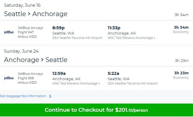 Seattle to Anchorage Alaska or Vice Versa $201 RT Nonstop on JetBlue (travel June-Aug)