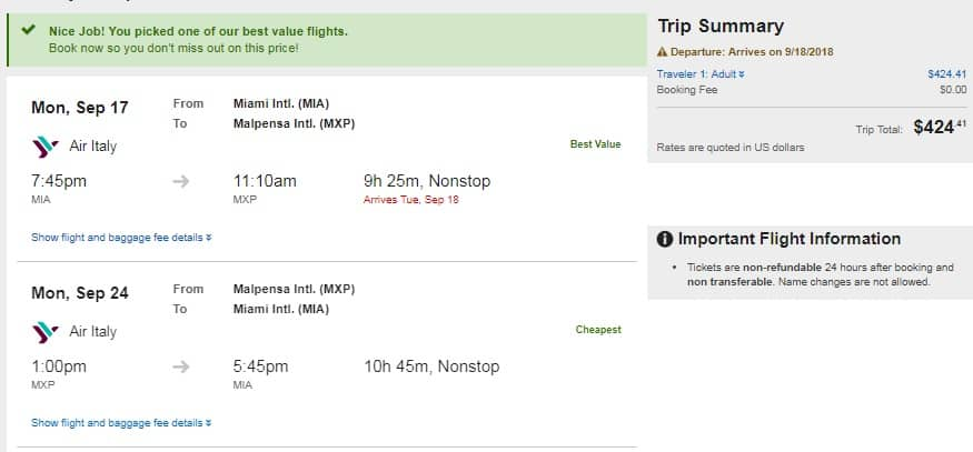 Miami to Milan Italy $425 RT Nonstop on Air Italy (travel Sept-Oct) $424