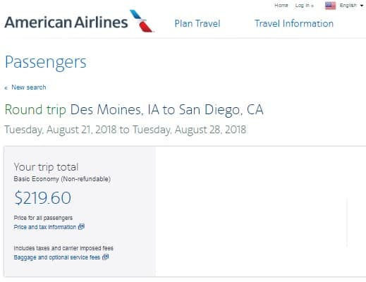 Des Moines Iowa to San Diego or Vice Versa $220-$230 RT Airfare on American Airlines (BE) Travel Aug-Sept