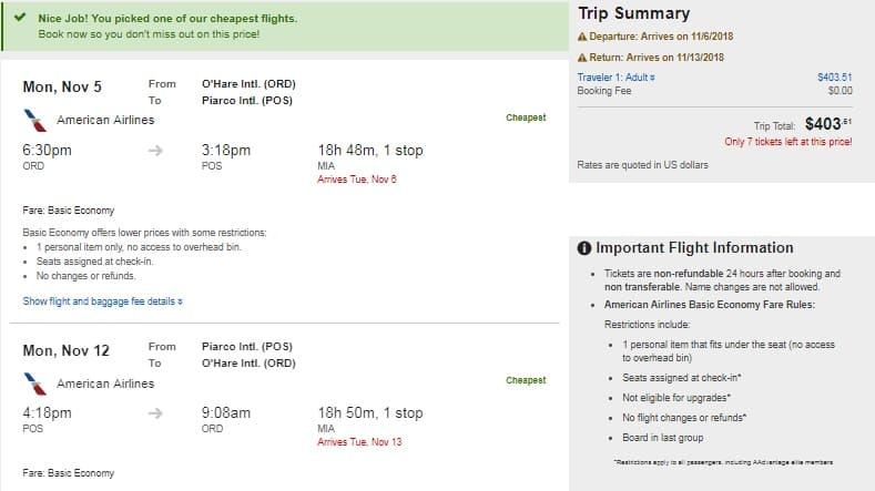 Miami to Trinidad / Tobago $404-$414 RT on American or United Airlines (BE)  (travel Sept-Nov)