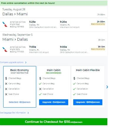 Dallas to Miami or Vice Versa $110 RT Nonstop on American Airlines (BE) (Few Aug-Sept Departure Dates)