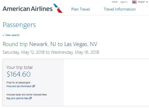 New York / New Jersey to Las Vegas or Vice Versa $160s RT on American Airlines (Very Limited Dates) $165