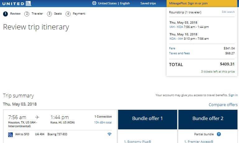 Houston to Kona Hawaii $409 RT on United Airlines (Travel in May)
