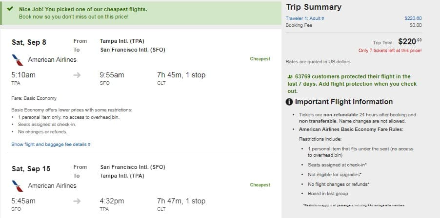 Tampa to San Francisco or Vice Versa $221 RT Airfare on American Airlines BE (travel Aug-Sept)