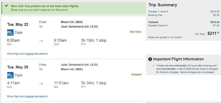 Copa Airlines Roundtrip Airfares to San Jose Costa Rica From $212-$364 from MIA MCO JFK SFO