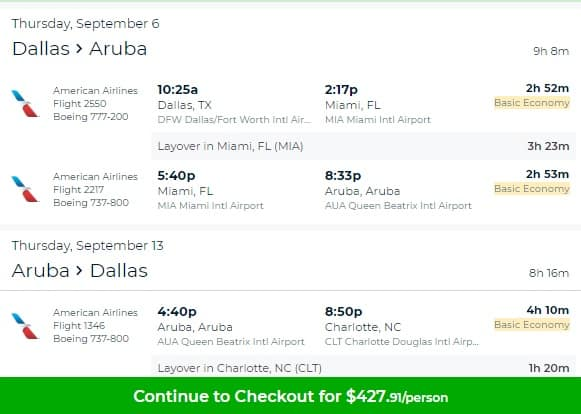 Dallas to Aruba $428-$434 RT on American or Delta Airlines BE (Travel Sept-Oct)