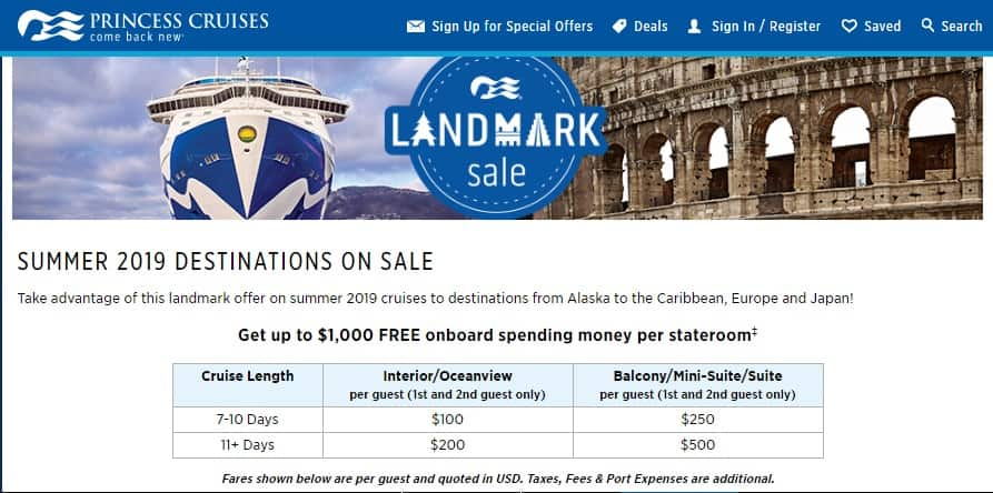 Princess Cruise Lines Landmark Sale - Up To $1000 Spend at Sea Promo for 2019 Sailings