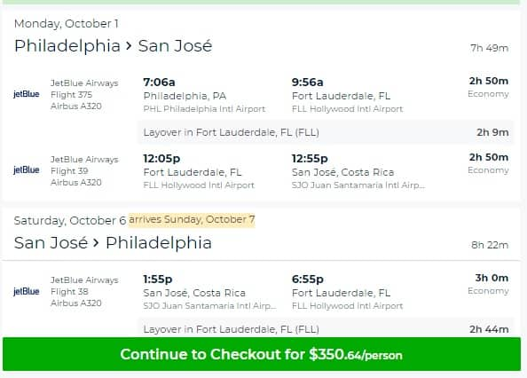Philadelphia to San Jose Costa Rica $351 RT Airfare on Jetblue (limited travel Sept-Oct)