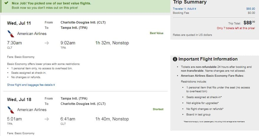 Tampa to Charlotte NC or Vice Versa $89 RT Nonstop Airfare on American Airlines BE (travel SUMMER June July Aug Sept)