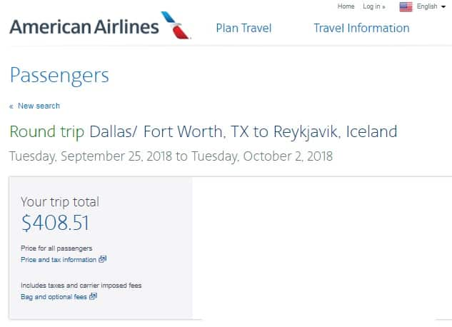 Dallas to Reykjavik, Iceland $409-$430 RT Nonstop on American Airlines (Very Limited Dates Sept & Oct)