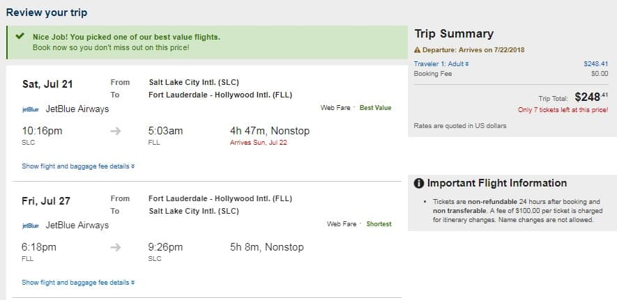 Salt Lake City to Ft Lauderdale or Vice Versa $248 RT Nonstop on JetBlue Airways (Travel SUMMER June July August)