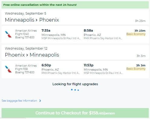 Minneapolis to Phoenix or Vice Versa $158 RT Nonstop on American Airlines (travel Sept-Oct)
