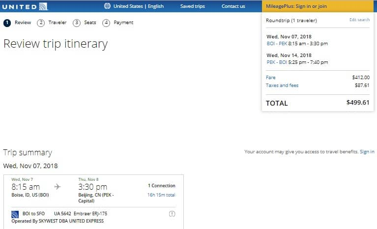 Boise ID to Beijing China $500 RT on United or Delta Airlines (travel Aug-Dec)