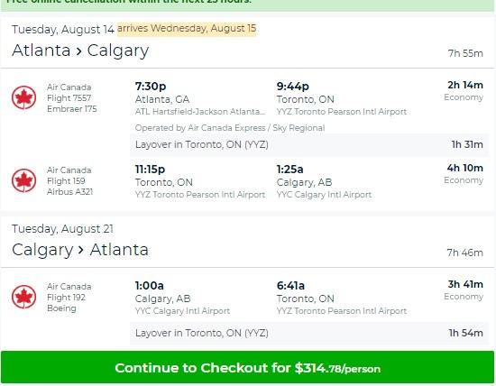 Atlanta to Calgary Canada $315 RT on Air Canada (travel Aug-Dec)