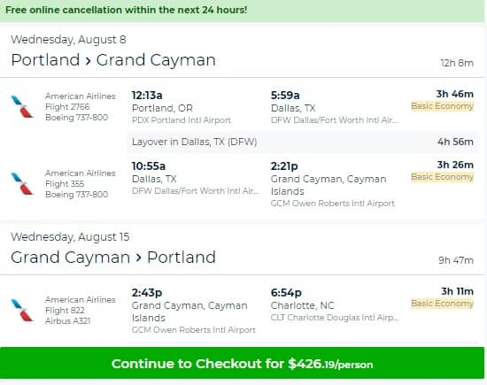 Portland Oregon to Grand Cayman Island $426 RT on American Airlines BE (limited travel Aug-Sept)