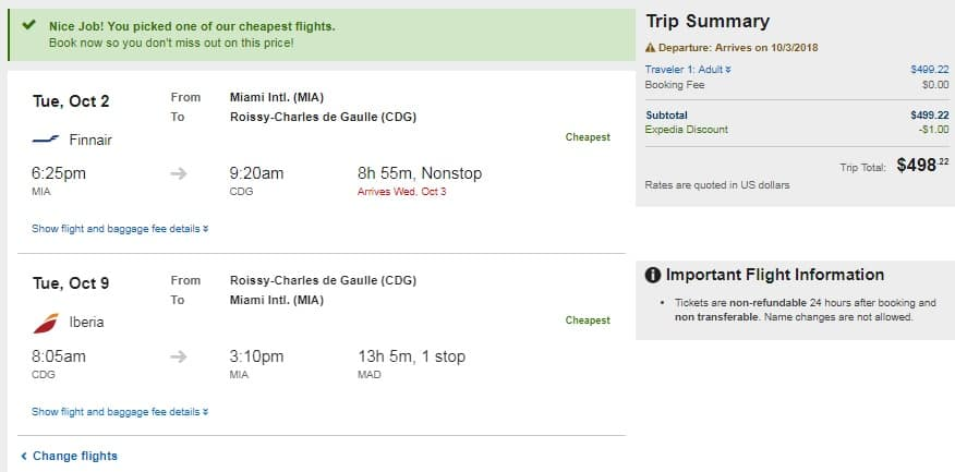 Miami to Paris France $498 RT Nonstop on One World Airlines (Few Dates in Sept & Oct)