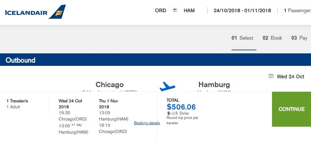Chicago to Hamburg Germany $506 RT Airfare on Icelandair (limited Oct