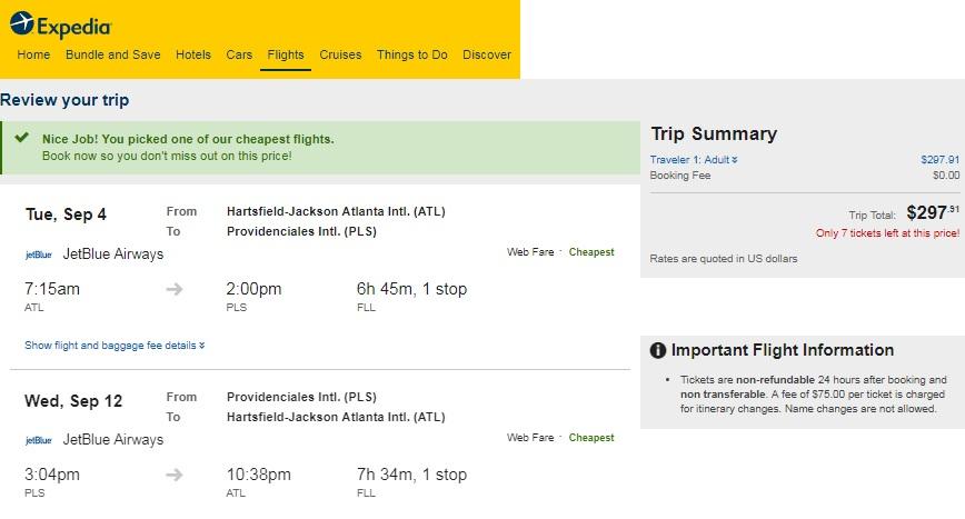 Atlanta to The Caribbean / Bahamas low $300s RT Airfares on Jetblue (Travel September)