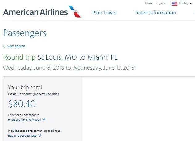 St Louis MO to Miami or Vice Versa $180 RT Nonstop on American Airlines BE (travel June July Aug)