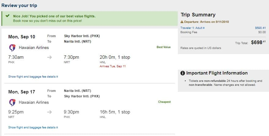 Phoenix to Tokyo Japan $698 RT Airfare on Hawaiian Airlines (Departs Sept 10 & 18 Only)