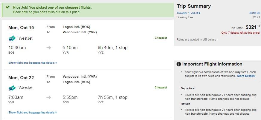 Boston to Vancouver Canada $321-$329 RT Airfare (travel Sept-Dec)