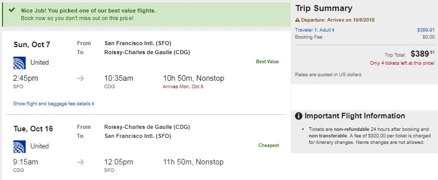 San Francisco to Paris France $390 RT Nonstop on United Airlines (Limited Travel Aug-Dec)