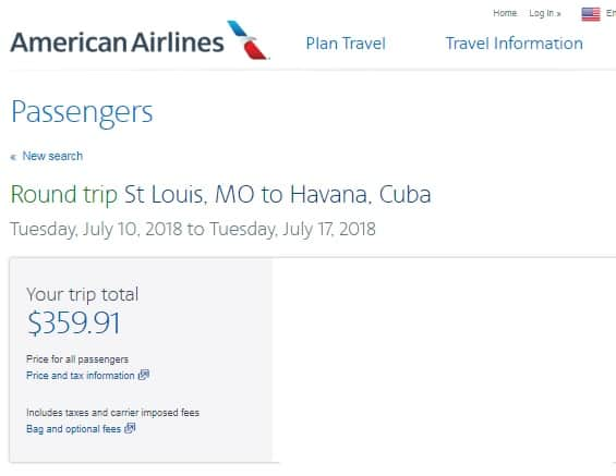 St. Louis MO to Havana Cuba $360 RT Airfares on American Airlines (Travel SUMMER June July Aug)