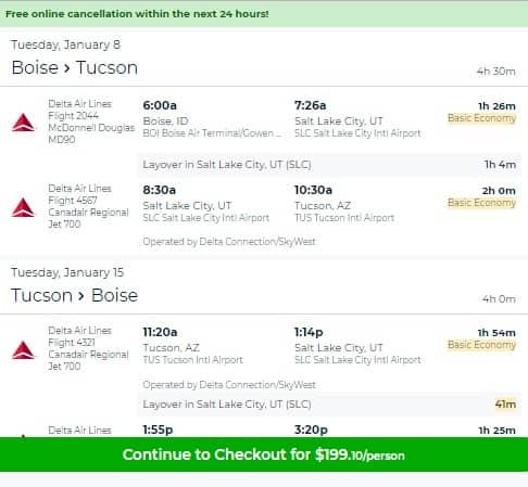 Boise ID to Tucson AZ or Vice Versa $199 RT on Delta Airlines BE (Travel June-Dec 2018)