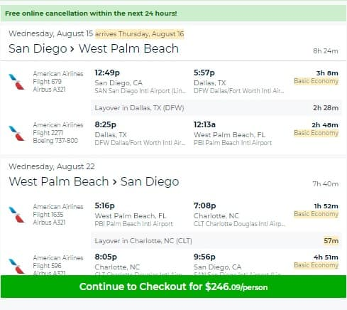 San Diego to West Palm Beach FL or Vice Versa $246 RT on American Airlines BE (Travel Aug-Nov)