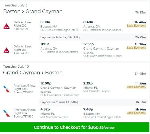 Boston to Grand Cayman Islands $361 RT on Delta Airlines and/or American Airlines (July Travel)