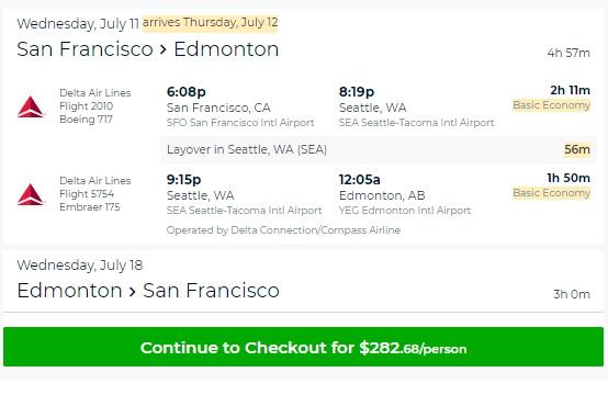 San Francisco to Edmonton Alberta Canada $283 RT Airfare (Limited SUMMER July-Sept)